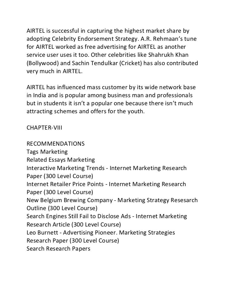 impact on the consciousness of airtel cellular services marketing essay The project aims at understanding the marketing strategies at airtel and its impact  on the consciousness of airtel cellular services marketing essay writing service.