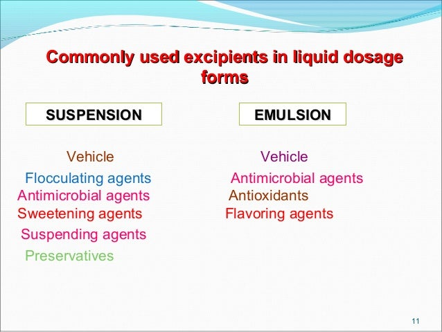 Excipient use in drug formulation