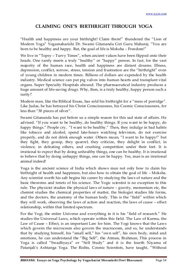 bhavana essays on yoga psychology bhavana essays on yoga psychology by yogacharini meenakshi devi bhavanani page 53 12