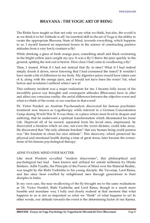 Gentil BHAVANA: Essays On Yoga Psychology By Yogacharini Meenakshi Devi Bhavanani  Page 4; 5. ...