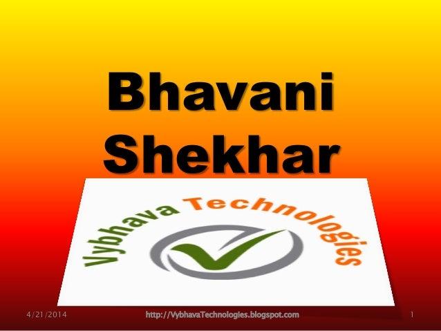 Bhavani Shekhar Trainer for WebLogic Administration, Shell Scripting, Python Orientation … 4/21/2014 http://VybhavaTechnol...