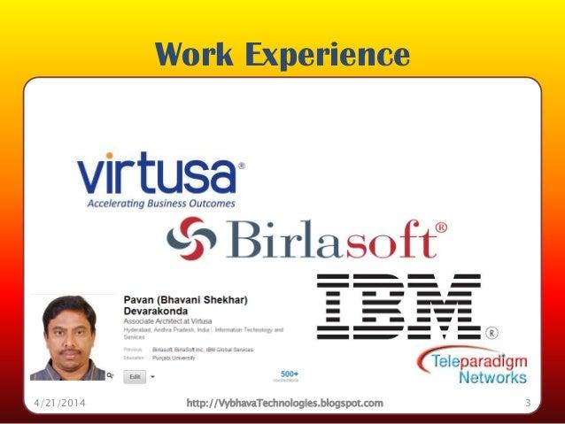 Work Experience 4/21/2014 http://VybhavaTechnologies.blogspot.com 3