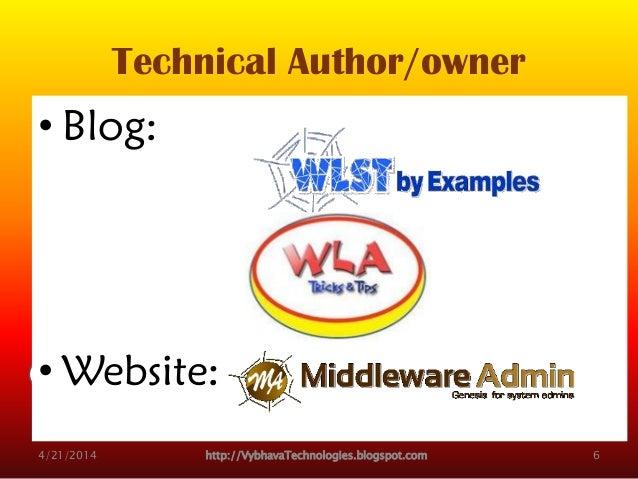 Technical Author/owner • Blog: • Website: 4/21/2014 http://VybhavaTechnologies.blogspot.com 6