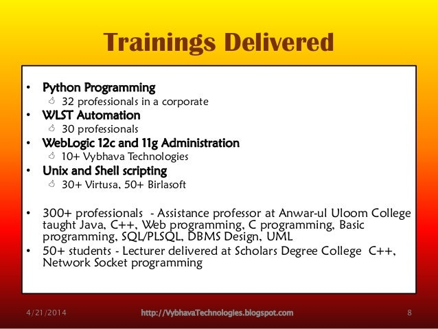 Trainings Delivered • Python Programming  32 professionals in a corporate • WLST Automation  30 professionals • WebLogic...