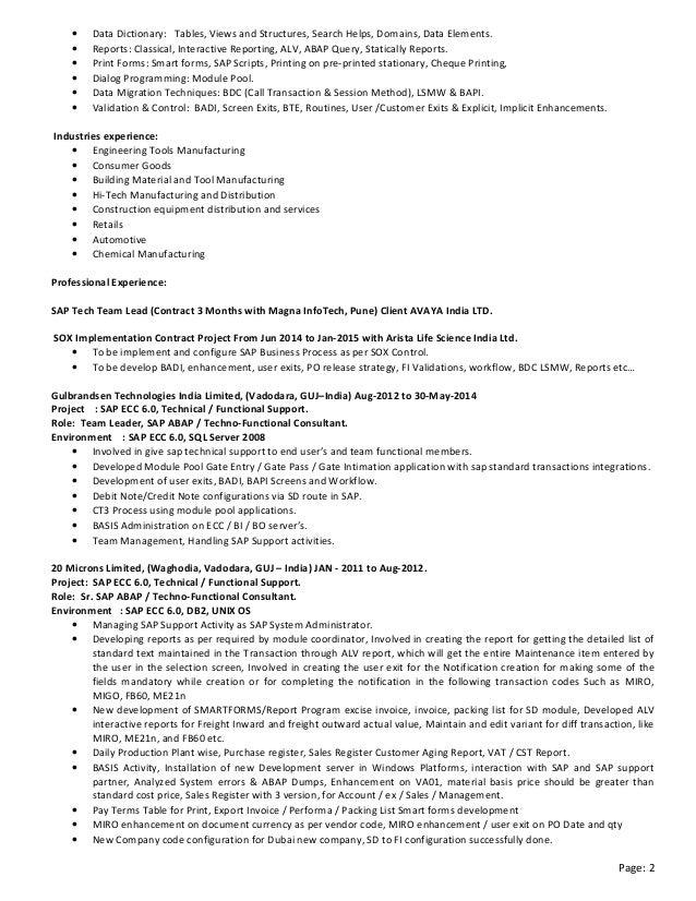 sap abap consultant resumes