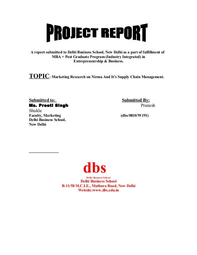 A report submitted to Delhi Business School, New Delhi as a part of fulfillment of MBA + Post Graduate Program (Industry I...