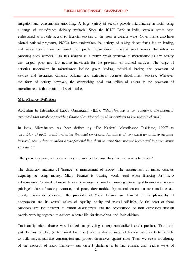 importance of microfinance pdf