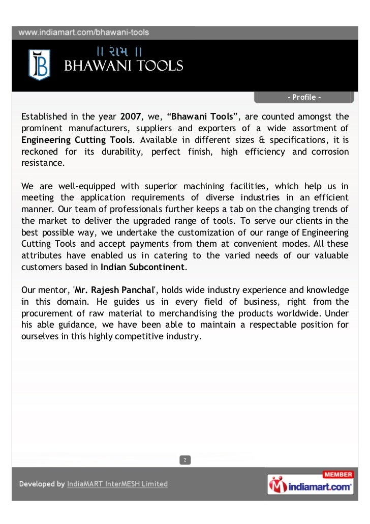"""- Profile -Established in the year 2007, we, """"Bhawani Tools"""", are counted amongst theprominent manufacturers, suppliers an..."""