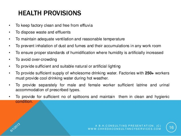 health provisions under factories act