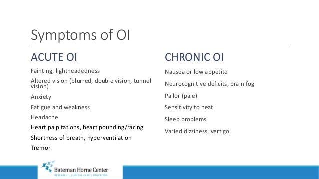 BHC Orthostatic Intolerance (OI) Syndromes 2018