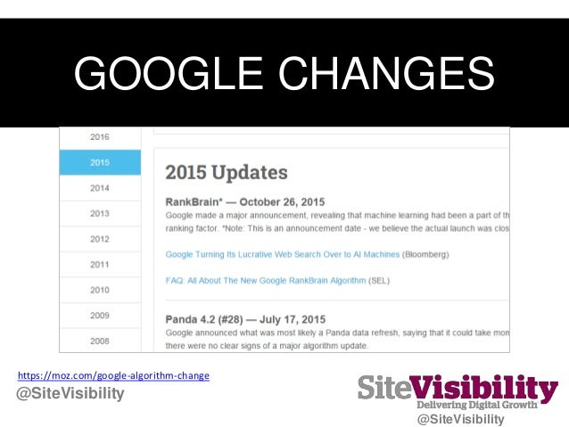 GOOGLE CHANGES https://moz.com/google-algorithm-change @SiteVisibility @SiteVisibility