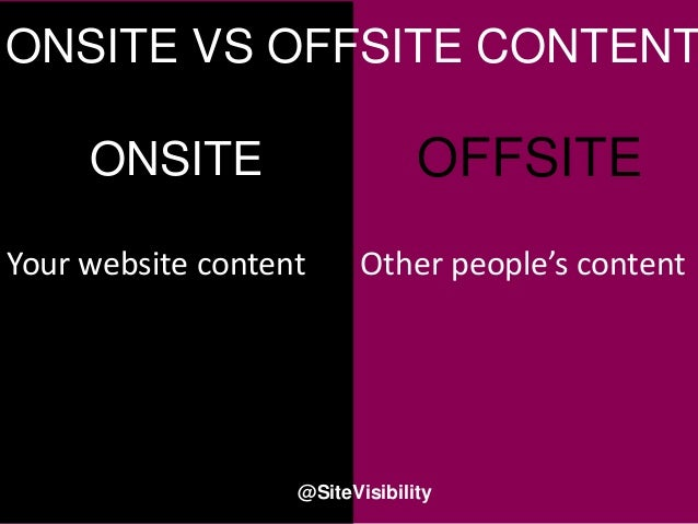 Your website content ONSITE OFFSITE Other people's content ONSITE VS OFFSITE CONTENT @SiteVisibility