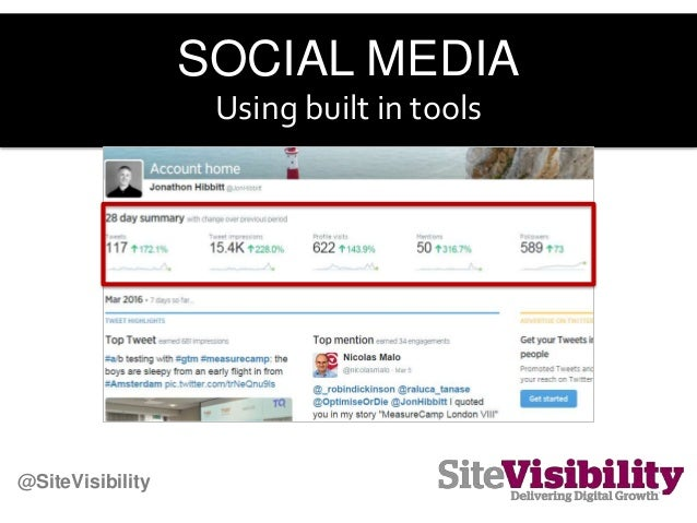 SOCIAL MEDIA Using built in tools @SiteVisibility