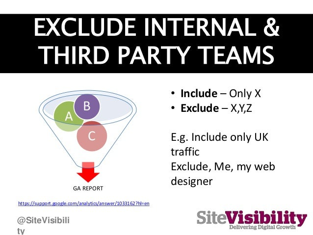 EXCLUDE INTERNAL & THIRD PARTY TEAMS GA REPORT C A B • Include – Only X • Exclude – X,Y,Z E.g. Include only UK traffic Exc...
