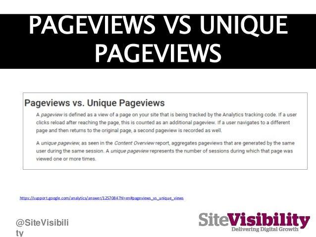 PAGEVIEWS VS UNIQUE PAGEVIEWS https://support.google.com/analytics/answer/1257084?hl=en#pageviews_vs_unique_views @SiteVis...