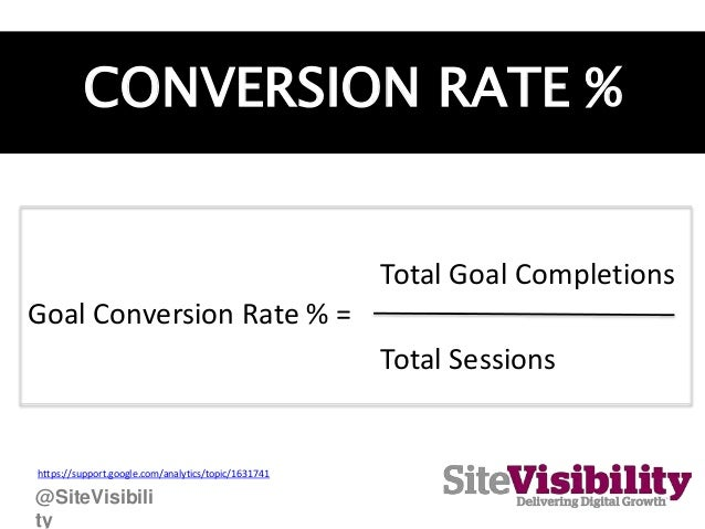 CONVERSION RATE % Goal Conversion Rate % = Total Sessions Total Goal Completions https://support.google.com/analytics/topi...