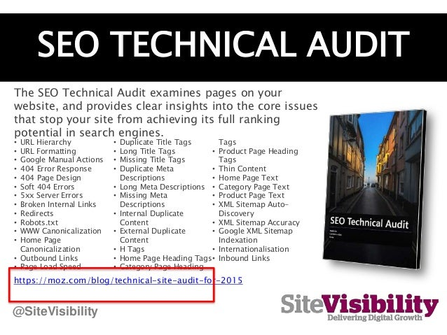 SEO TECHNICAL AUDIT The SEO Technical Audit examines pages on your website, and provides clear insights into the core issu...