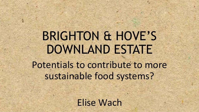 BRIGHTON & HOVE'S DOWNLAND ESTATE Potentials to contribute to more sustainable food systems? Elise Wach