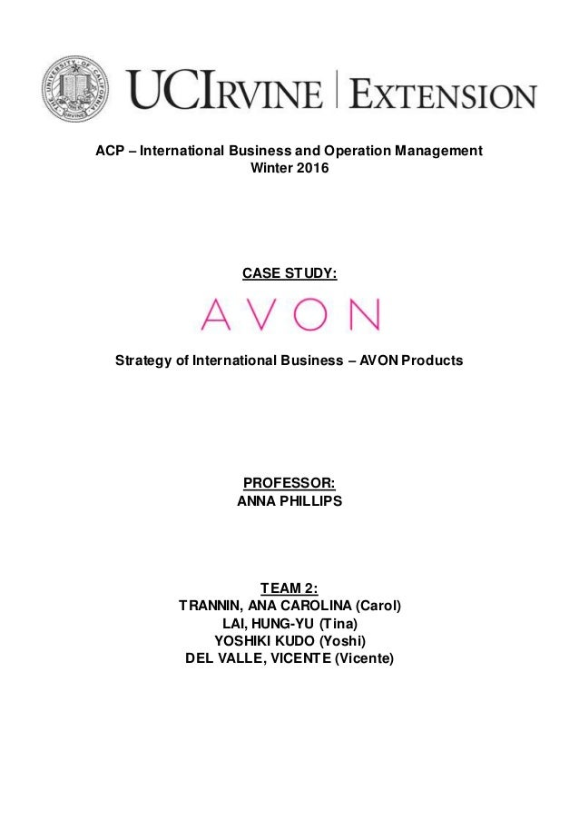 avon case study international marketing International journal of humanities and social science  study the effects of customer service and product quality on  marketing management.