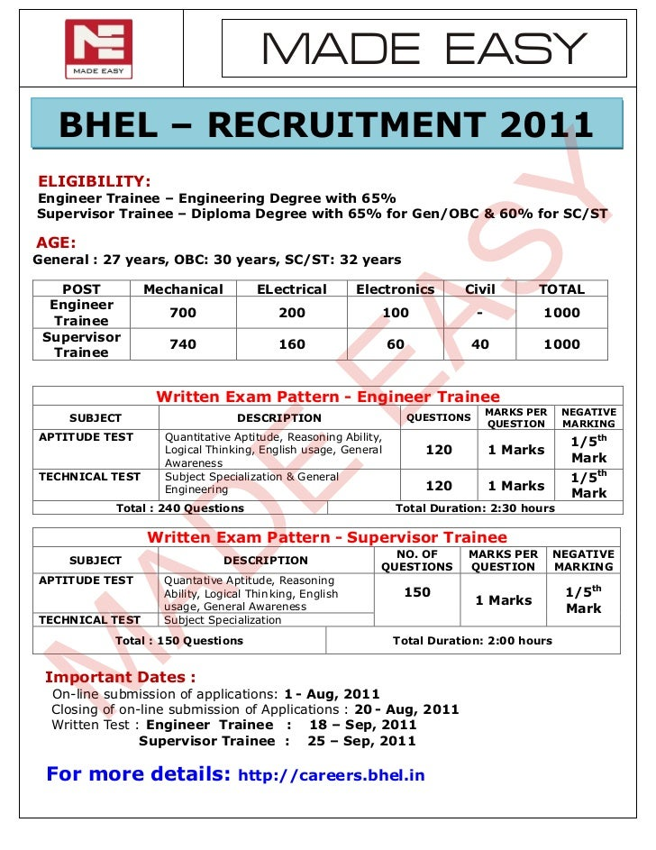 MADE EASY   BHEL – RECRUITMENT 2011ELIGIBILITY:                                                                      SYEng...