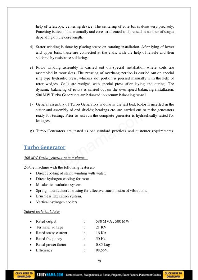 Bhel - Manufacturing process of 500 mw turbo generator bars