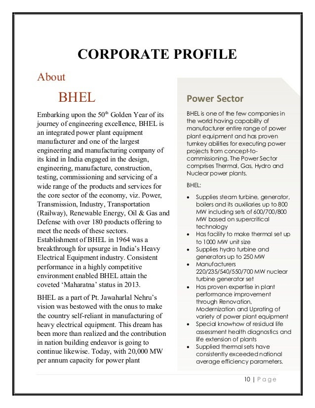 Bhel profile