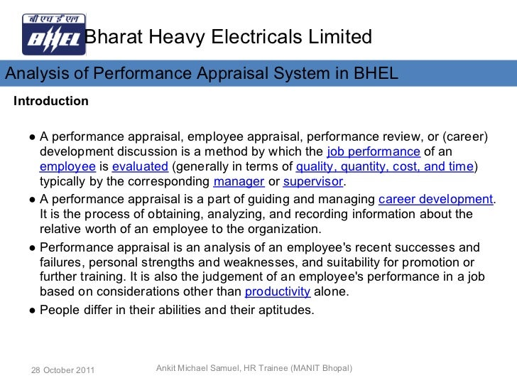 Organisational Study at Bhel Essay
