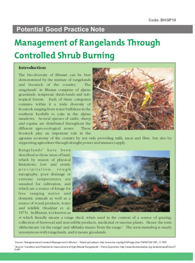 Code: BHGP10     Potential Good Practice NoteManagement of Rangelands ThroughControlled Shrub Burning      Introduction   ...