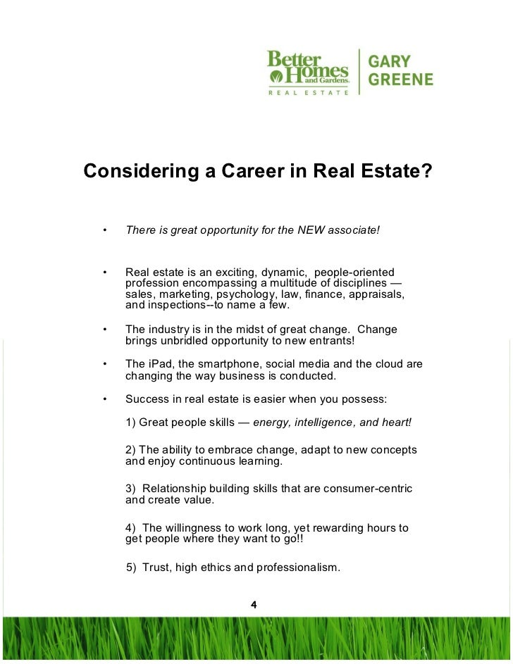 Real Estate Career : All about a career in real estate with better homes and
