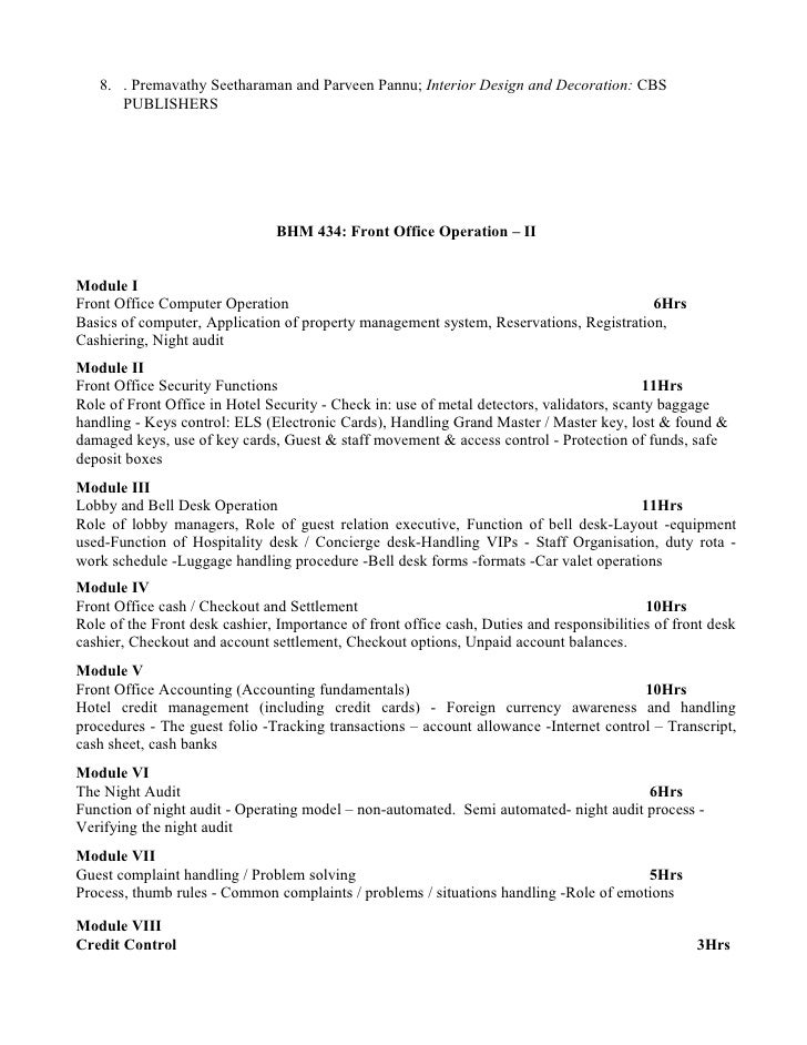 Bhm syllabus for Office design questionnaire