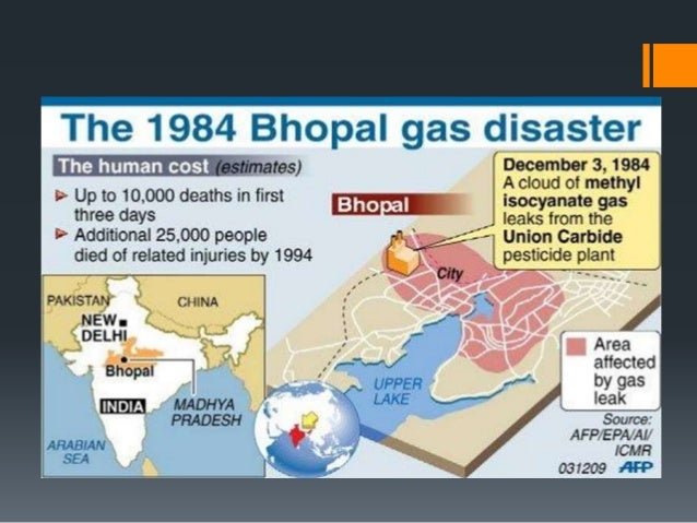 the bhopal gas disaster Bhopal gas leak disaster on december 3, 1984, a union carbide corporation plant in bhopal leaked 32 tons of toxic methyl isocyanate gas, leading to the bhopal disaster the official death toll of this disaster was about 5,000 initially.