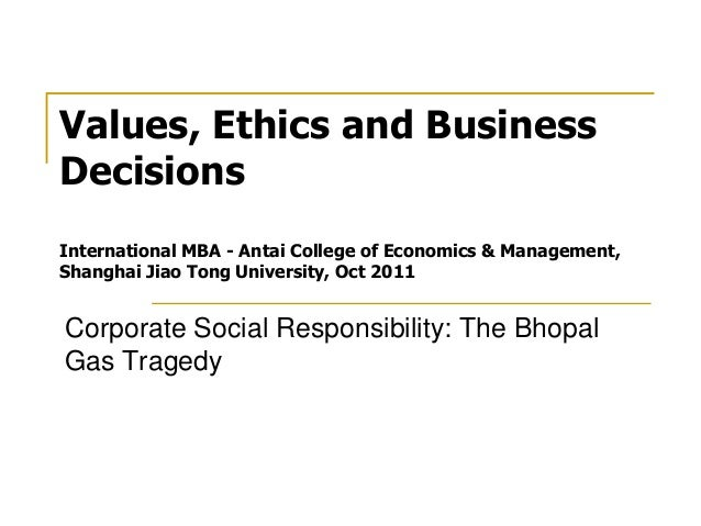 Values, Ethics and Business Decisions International MBA - Antai College of Economics & Management, Shanghai Jiao Tong Univ...