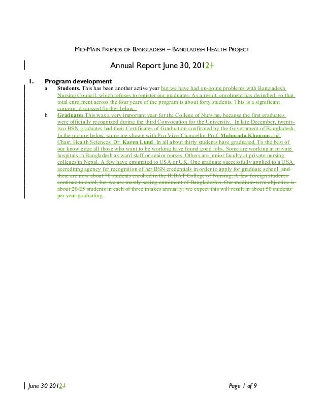MID-MAIN FRIENDS OF BANGLADESH – BANGLADESH HEALTH PROJECT Annual Report June 30, 20121 1. Program development a. Students...