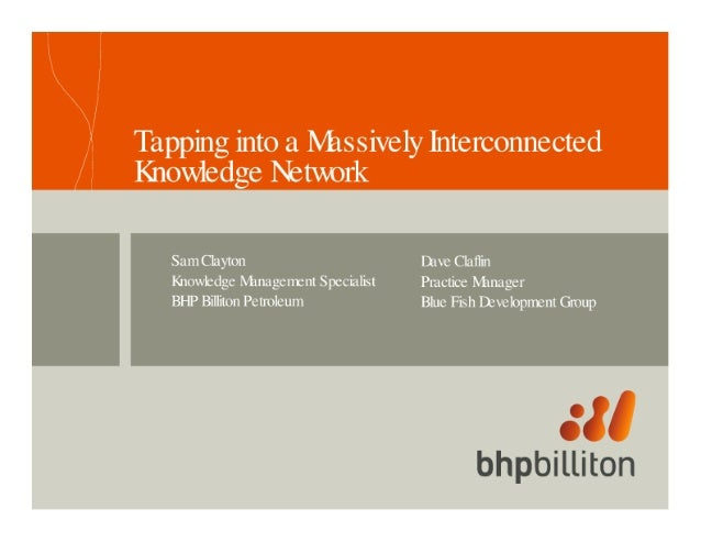 Tapping into a Massively Interconnected Knowledge IEtwork  Sum Clayton [)1 ye Claflin Knowledge M1nagerrrentSpeci;1lis'l Pr...