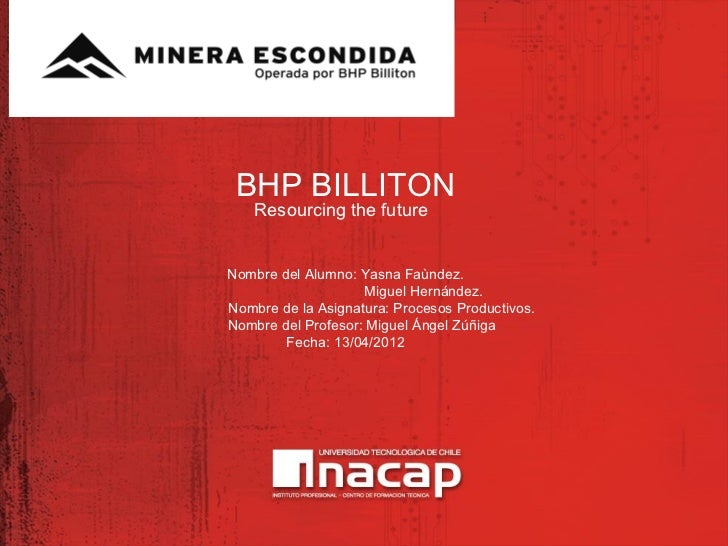 BHP BILLITON    Resourcing the futureNombre del Alumno: Yasna Faùndez.                    Miguel Hernández.Nombre de la As...