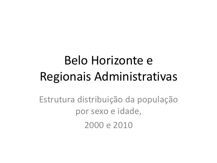 Belo Horizonte eRegionais AdministrativasEstrutura distribuição da população         por sexo e idade,            2000 e 2...