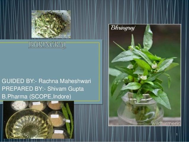 GUIDED BY:- Rachna Maheshwari PREPARED BY:- Shivam Gupta B.Pharma (SCOPE,Indore) 21/9/2015 1