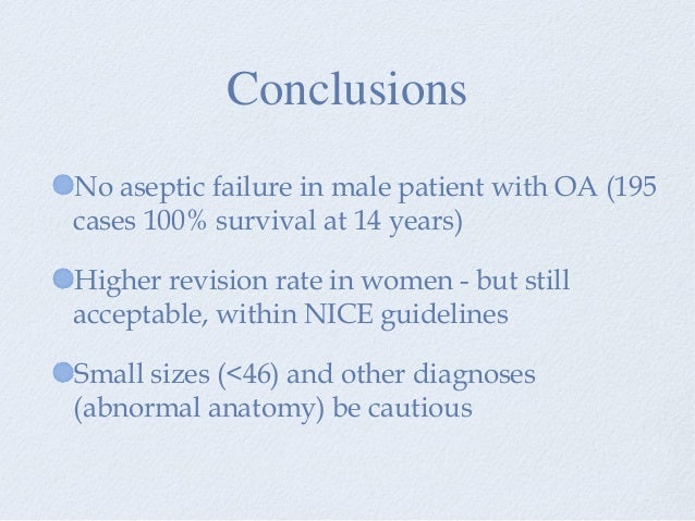 No aseptic failure in male patient with OA (195 cases 100% survival at 14 years) Higher revision rate in women - but still...