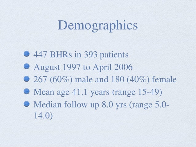 Demographics 447 BHRs in 393 patients August 1997 to April 2006 267 (60%) male and 180 (40%) female Mean age 41.1 years (r...