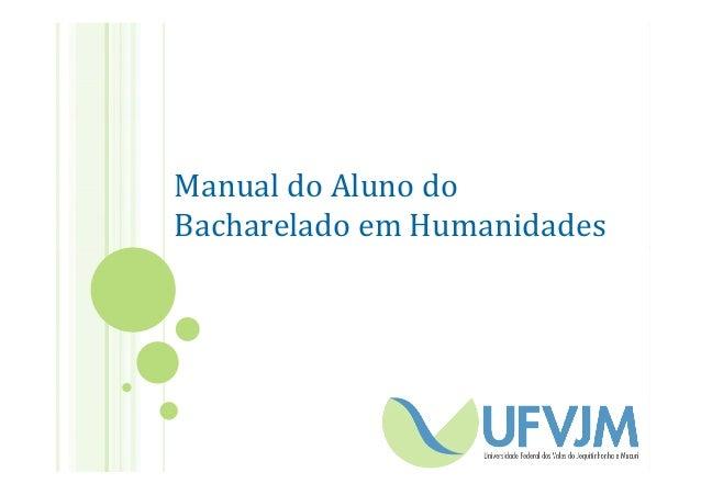 Manual do Aluno do Bacharelado em Humanidades