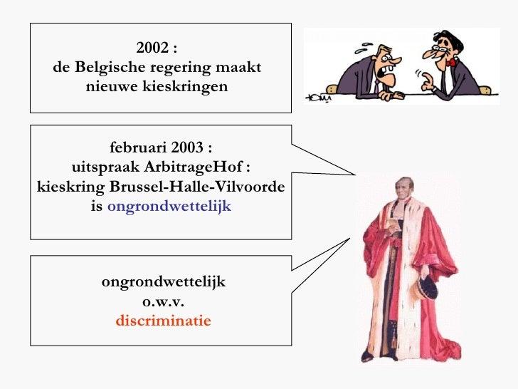 2002 : de Belgische regering maakt nieuwe kieskringen februari 2003 : uitspraak ArbitrageHof : kieskring Brussel-Halle-Vil...