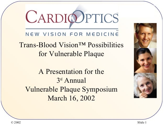 © 2002 Slide 1 Trans-Blood Vision™ Possibilities for Vulnerable Plaque A Presentation for the 3rd Annual Vulnerable Plaque...
