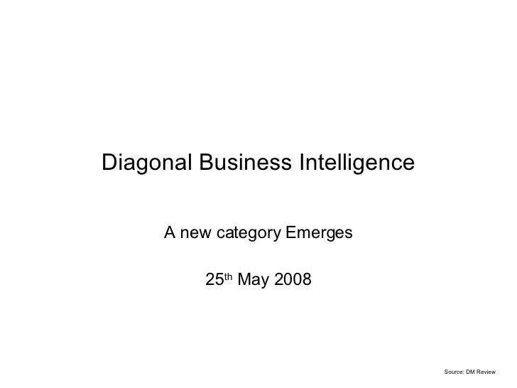Diagonal Business Intelligence A new category Emerges 25 th  May 2008 Source: DM Review