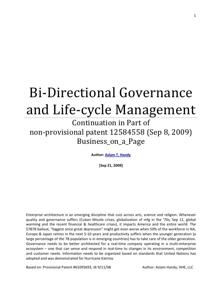 1     Bi-Directional Governance and Life-cycle Management               Continuation in Part of   non-provisional patent 1...