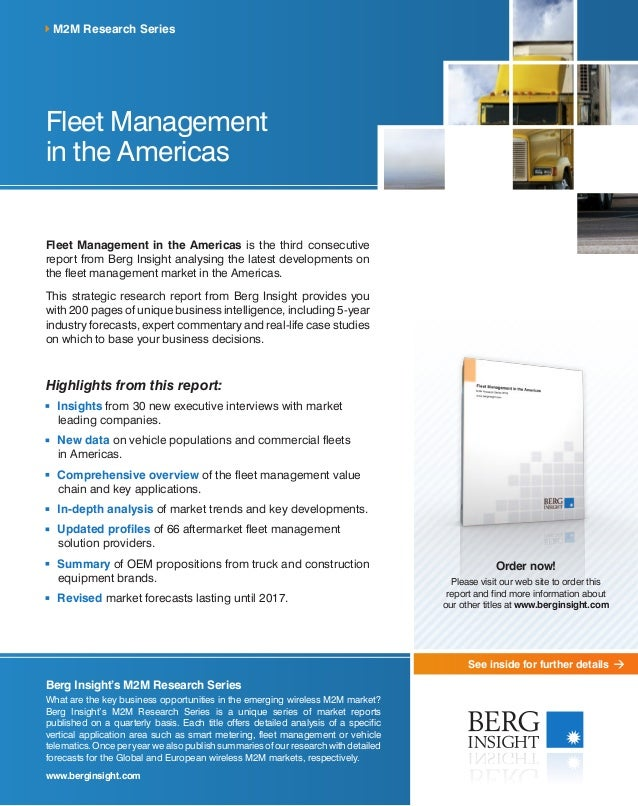 See inside for further details Fleet Management in the Americas Fleet Management in the Americas is the third consecutive ...