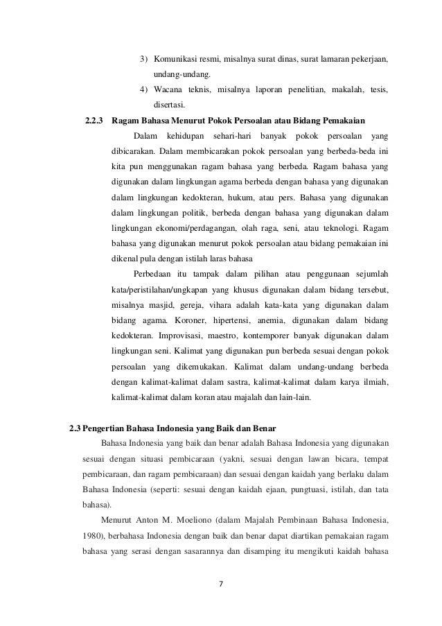 Makalah Ragam Bahasa Indonesia