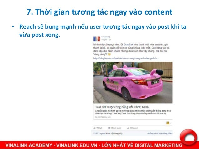 • Reach sẽ bung mạnh nếu user tương tác ngay vào post khi ta vừa post xong. 7. Thời gian tương tác ngay vào content