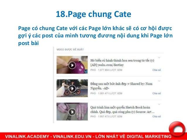 18.Page chung Cate Page có chung Cate với các Page lớn khác sẽ có cơ hội được gợi ý các post của mình tương đương nội dung...