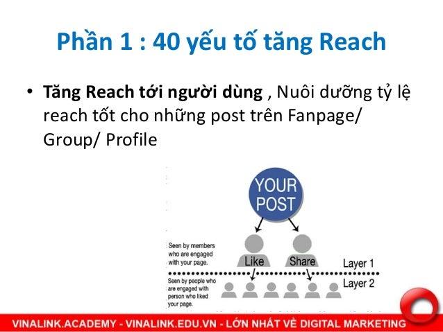 Phần 1 : 40 yếu tố tăng Reach • Tăng Reach tới người dùng , Nuôi dưỡng tỷ lệ reach tốt cho những post trên Fanpage/ Group/...