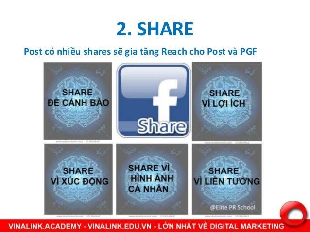 2. SHARE Post có nhiều shares sẽ gia tăng Reach cho Post và PGF